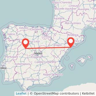 Mapa del viaje Salamanca Tarragona en tren