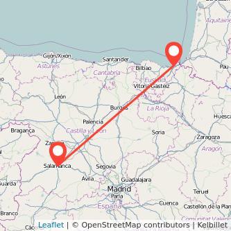 Mapa del viaje Salamanca San Sebastián en tren