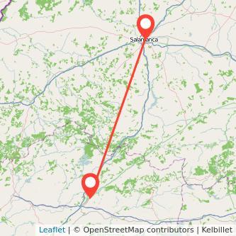 Mapa del viaje Salamanca Plasencia en bus