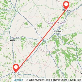 Mapa del viaje Salamanca Palencia en bus