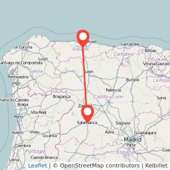 Mapa del viaje Salamanca Oviedo en bus