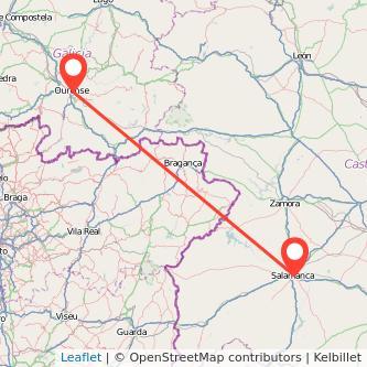 Mapa del viaje Salamanca Ourense en bus