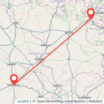 Mapa del viaje Salamanca Miranda de Ebro en tren