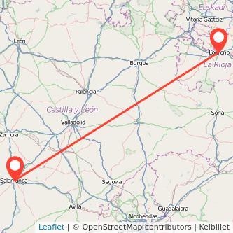 Mapa del viaje Salamanca Logroño en tren