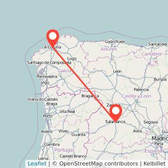 Mapa del viaje Salamanca A Coruña en bus
