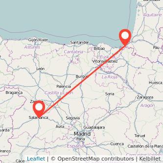 Mapa del viaje Salamanca Irún en bus
