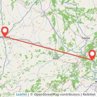 Mapa del viaje Salamanca Collado-Villalba en tren
