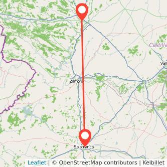 Mapa del viaje Salamanca Benavente en bus