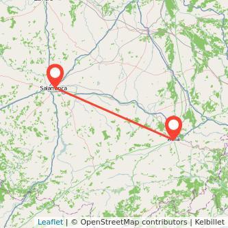Mapa del viaje Salamanca Ávila en tren