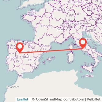 Mapa del viaje Salamanca Roma en bus