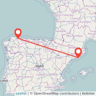 Mapa del viaje Ribadeo Barcelona en bus