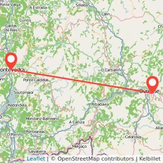 Mapa del viaje Pontevedra Ourense en bus