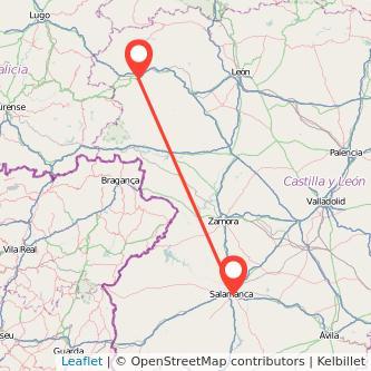 Mapa del viaje Ponferrada Salamanca en bus