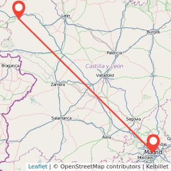 Mapa del viaje Ponferrada Madrid en bus