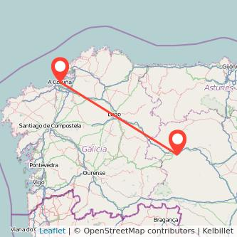 Mapa del viaje Ponferrada A Coruña en bus