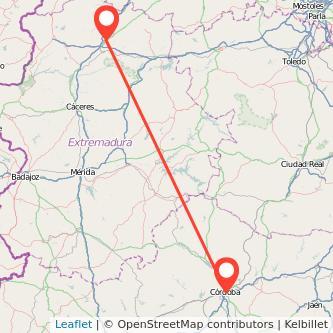 Mapa del viaje Plasencia Córdoba en bus