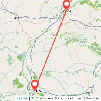 Mapa del viaje Plasencia Cáceres en bus