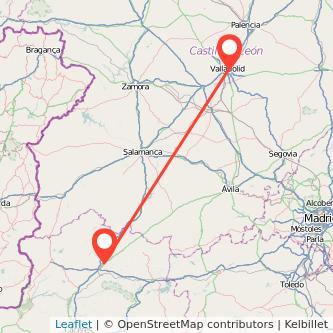 Mapa del viaje Plasencia Valladolid en bus