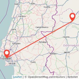 Mapa del viaje Plasencia Lisboa en bus