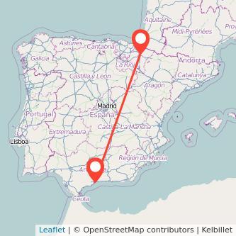 Mapa del viaje Pamplona Málaga en tren