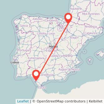 Mapa del viaje Pamplona Jerez de la Frontera en tren