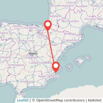 Mapa del viaje Pamplona Alicante en tren