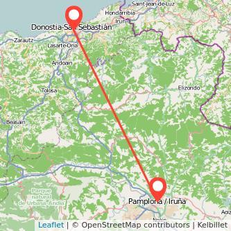 Mapa del viaje Pamplona San Sebastián en tren