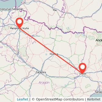 Mapa del viaje Pamplona Lérida en tren