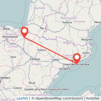 Mapa del viaje Pamplona Barcelona en tren