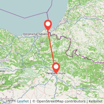 Mapa del viaje Pamplona Hendaya en tren
