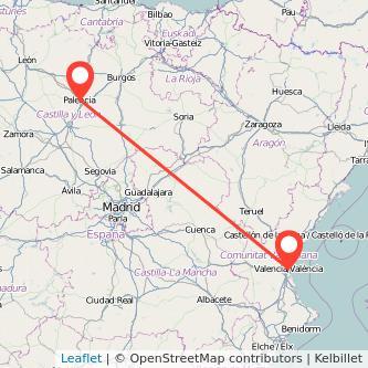 Mapa del viaje Palencia Valencia en bus