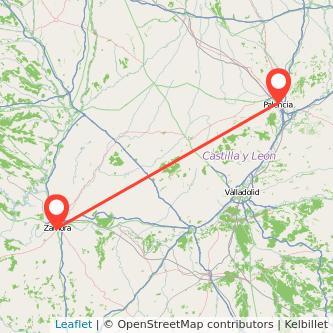 Mapa del viaje Palencia Zamora en bus