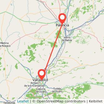 Mapa del viaje Palencia Valladolid en bus