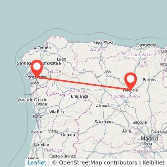 Mapa del viaje Palencia Pontevedra en bus