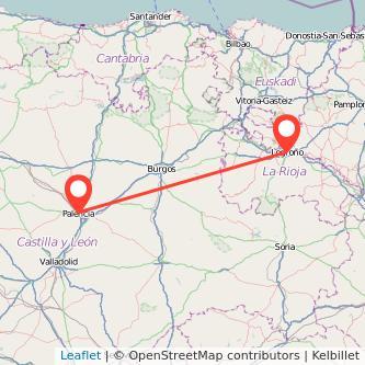 Mapa del viaje Palencia Logroño en bus