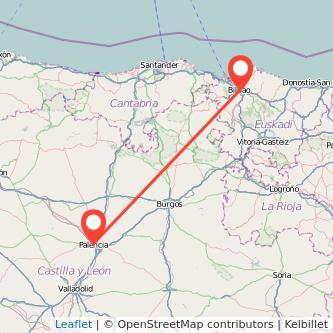 Mapa del viaje Palencia Bilbao en bus