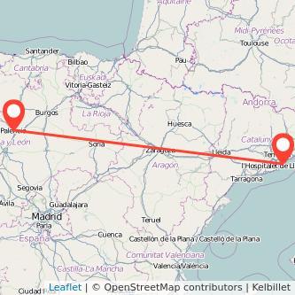 Mapa del viaje Palencia Barcelona en bus