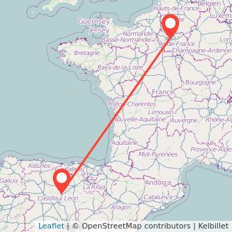 Mapa del viaje Palencia París en bus