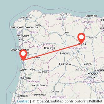 Mapa del viaje Palencia Oporto en bus