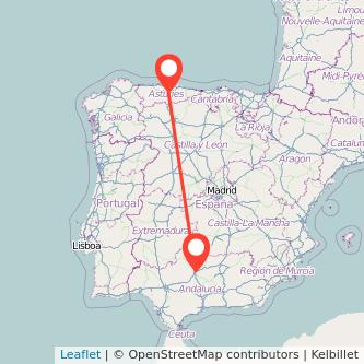 Mapa del viaje Oviedo Córdoba en bus