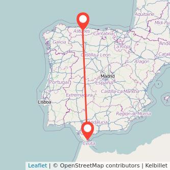 Mapa del viaje Oviedo Algeciras en bus