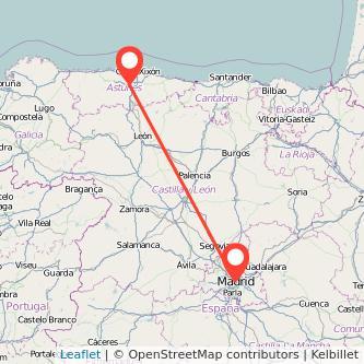 Mapa del viaje Oviedo Madrid en bus