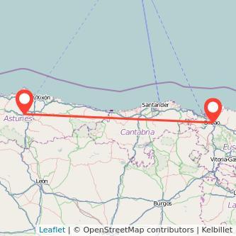 Mapa del viaje Oviedo Bilbao en bus