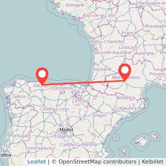 Mapa del viaje Oviedo Toulouse en bus