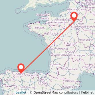 Mapa del viaje Oviedo París en bus