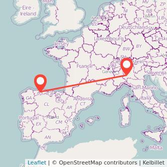 Mapa del viaje Oviedo Milan en bus