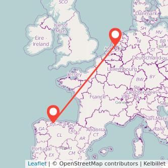 Mapa del viaje Oviedo Amsterdam en bus