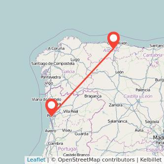 Mapa del viaje Oviedo Oporto en bus
