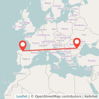 Mapa del viaje Oviedo Bucarest en bus