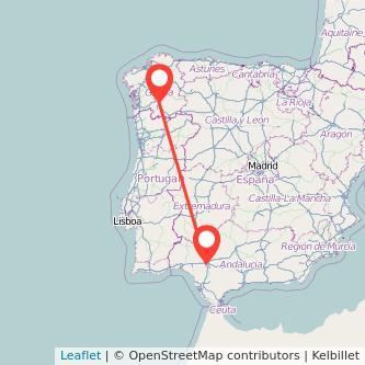 Mapa del viaje Ourense Sevilla en bus